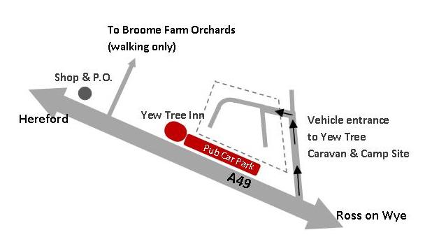 Yew Tree Caravan Site Access map